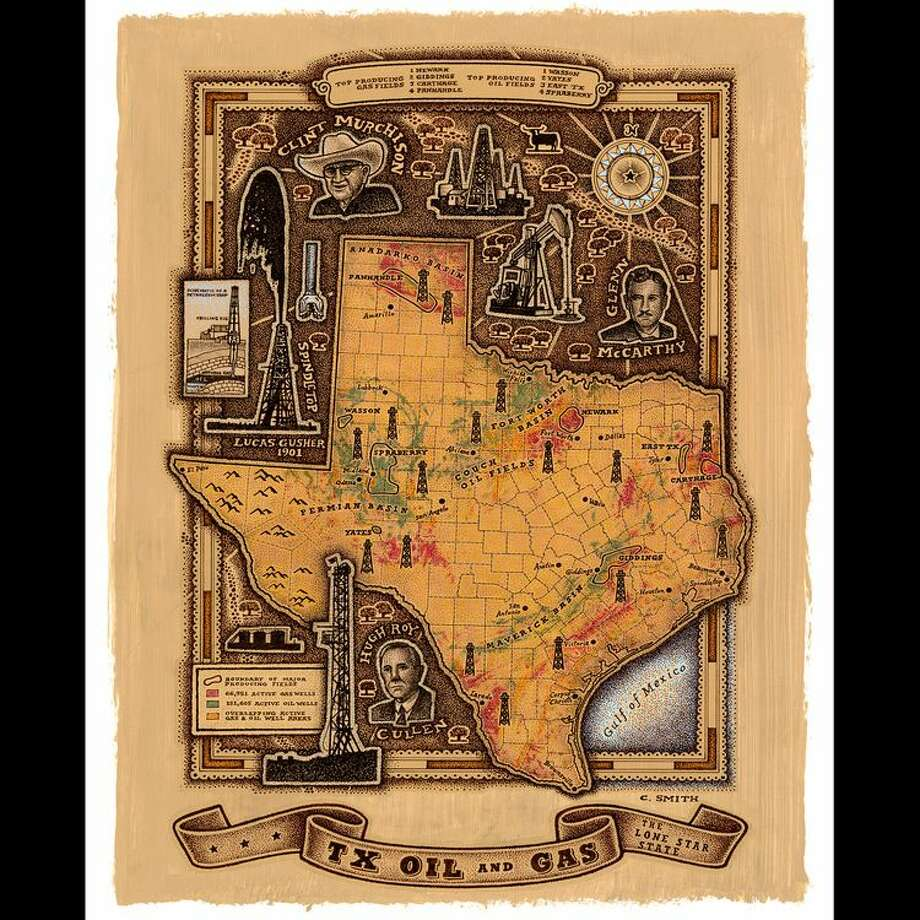 TX Oil & Gas Map by Chris Smith Photo: Handout