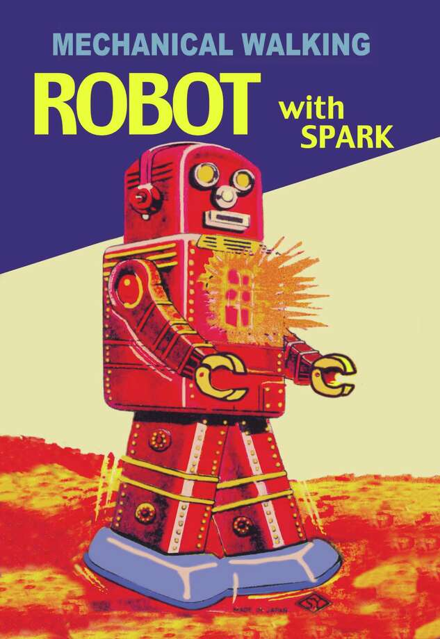 Mechanical Walking Red Robot with Spark Photo: Buyenlarge, Getty / Archive Photos