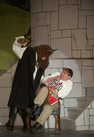 "Zane Knapp, 17, as the Beast, and Justin Quader,18, as Belle's father Maurice, in Bethel High School's production of ""Beauty and the Beast."" Both are seniors at Bethel High School, in Bethel, Conn. Photo: H John Voorhees III / The News-Times Freelance"