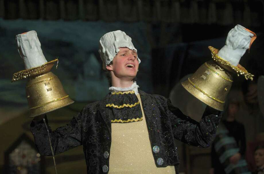 "Zach Newman, 17, a senior at Bethel High School, Conn.,  plays Lumière in the school's production of Disney's ""Beauty and the Beast."" March 19, 2013. Photo: H John Voorhees III / The News-Times Freelance"