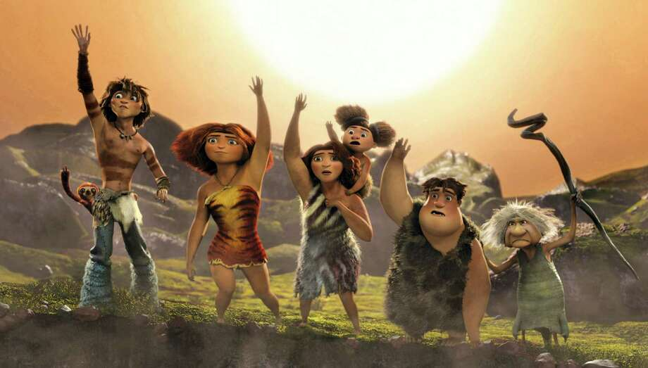 "Meet ""The Croods"" characters, from left: Belt the sloth,  Guy, Eep,  Ugga with little Sandy,  Thunk and Gran. The animated film owes more to the Coyote/Roadrunner escapades than the ""The Flintstones."" Photo: DreamWorks"