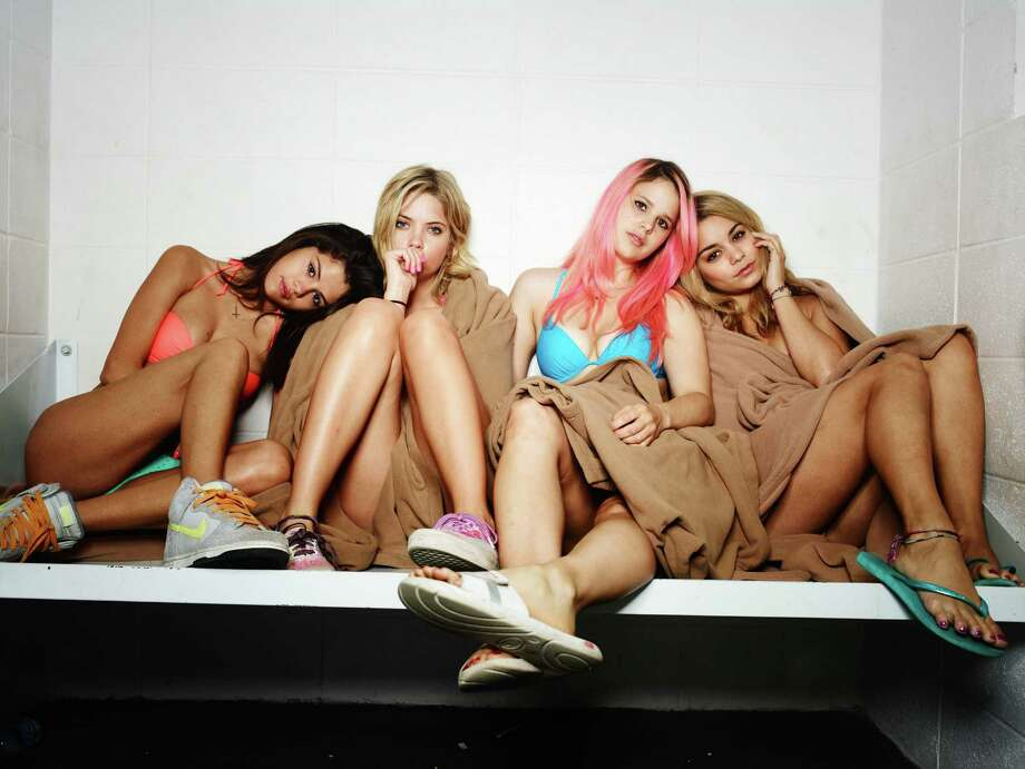 "Selena Gomez (from left), Ashley Benson, Rachel Korine and Vanessa Hudgens of ""Spring Breakers"" take a road trip where drugs, violence and bizarreness rule. Photo: Associated Press"