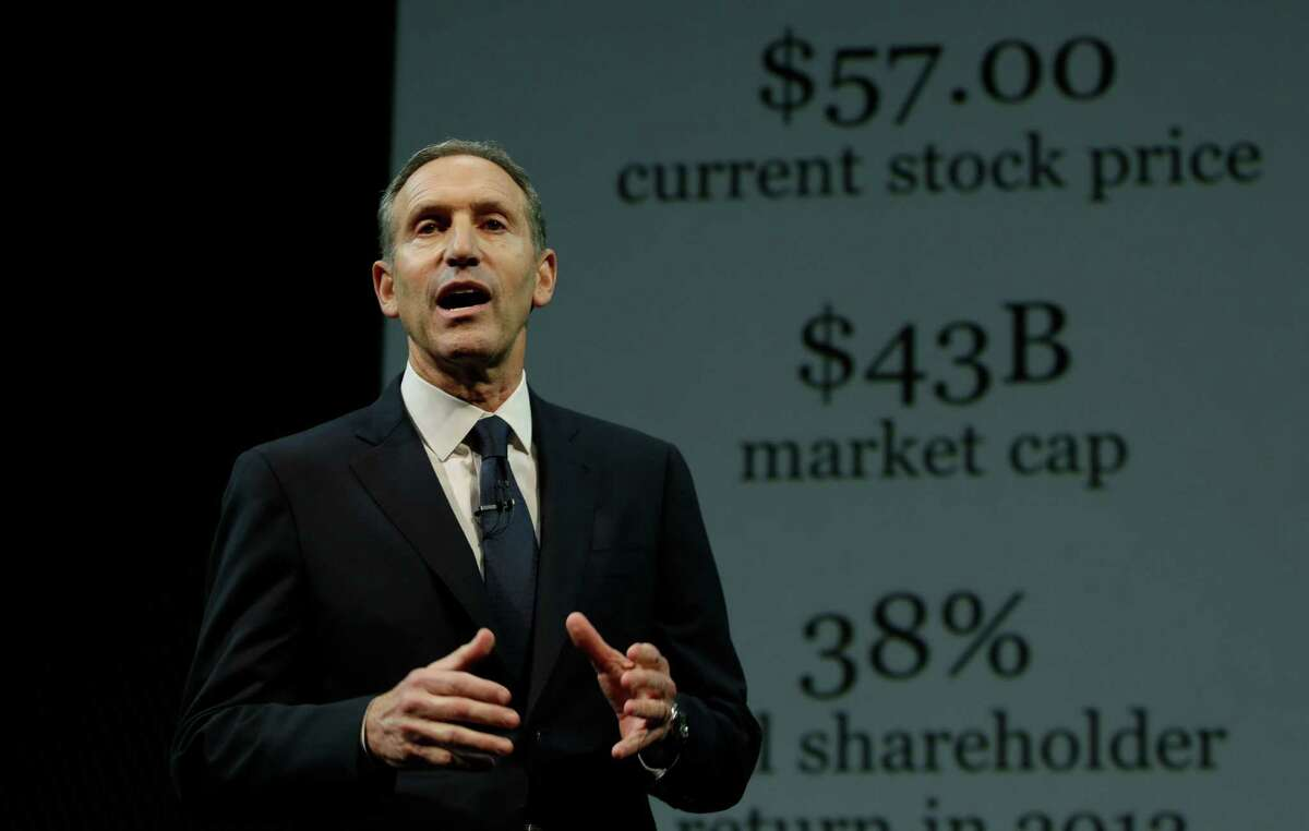 Starbucks CEO Howard Schultz speaks in front of a graphic of the company's financial performance during Starbucks' annual shareholders meeting, Wednesday, March 20, 2013, in Seattle.