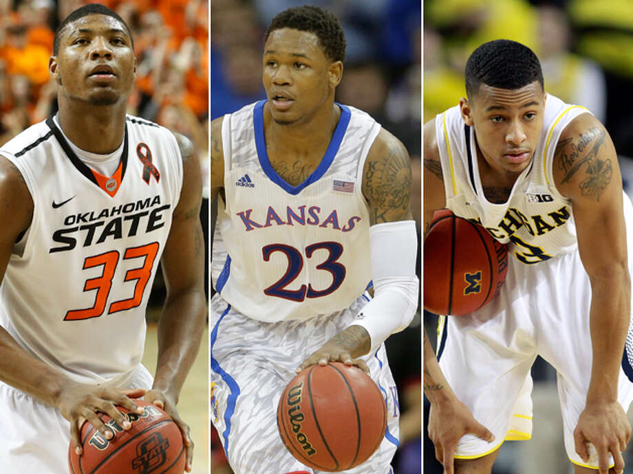 An early peek If you want a head start to the draft lottery in June, pay close attention to three standout underclassmen — Marcus Smart (from left) of Oklahoma State, Ben McLemore of Kansas and Trey Burke of Michigan. All will be coming to an NBA arena near you soon. Photo: Associated Press Photos