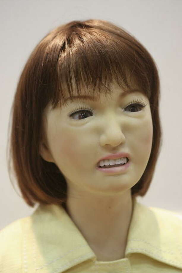 "A receptionist robot ""Saya"" developed by Tokyo University of Science express a feeling of anger during 2005 International Robot Exhibition on November 30, 2005 in Tokyo, Japan. Saya is able to communicate with visitors and and express her feeling such as happiness, surprise, anger etc. The Exhibition is on until December 3. (Photo by Koichi Kamoshida) Photo: Koichi Kamoshida, Getty / 2005 Getty Images"