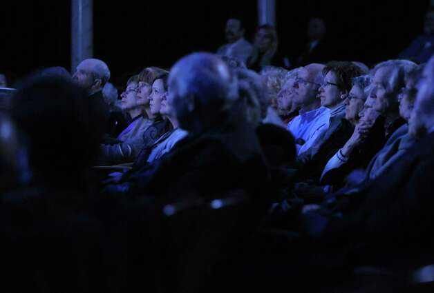 Visitors watch as actor Bradley Dean performs  during an event at Proctors to unveil the  titles for next season's Broadway series on Wednesday, March 20, 2013 in Schenectady, NY.  (Paul Buckowski / Times Union) Photo: Paul Buckowski