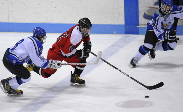 Fairfield Warde/Ludlowe Mustang's #22 Kyle Scheetz, during CIAC Division II boys hockey state final action against East Catholic at Ingalls Rink in New Haven, Conn. on Wednesday March 20 2013. Photo: Christian Abraham / Connecticut Post