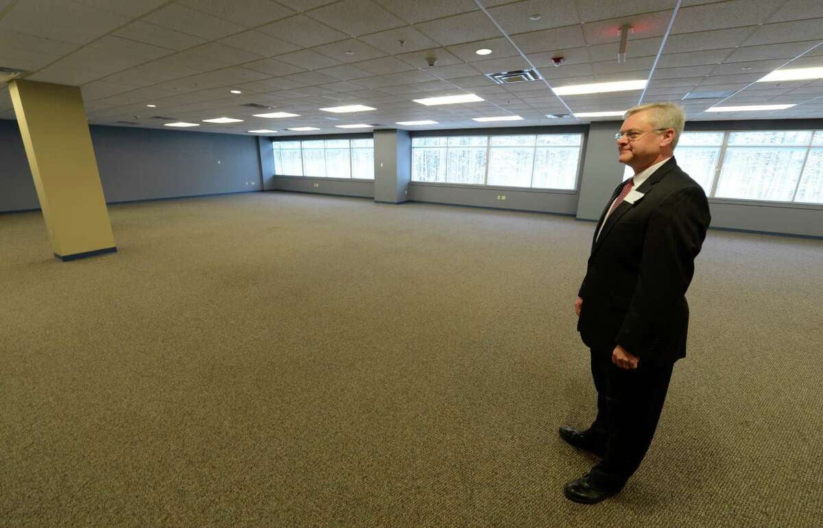 """Alexande """"Sandy"""" Mathes Jr. senior vice president, commercial division of United Group shows off the available space March 20, 2013, at the STEP building at the tech park in Malta, N.Y. (Skip Dickstein/Times Union)"""