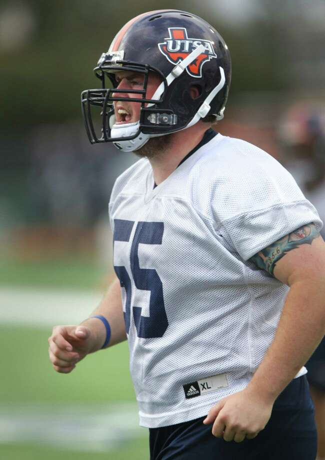 "UTSA center Nate Leonard says matching last season's record is not good enough in 2013. ""These coaches aren't out here busting us in the spring to see us go 8-4 again,"" he said. Photo: Bob Owen / San Antonio Express-News"