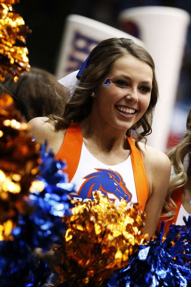 DAYTON, OH - MARCH 20:  A Boise State Broncos cheerleader performs in the first half against the La Salle Explorers during the first round of the 2013 NCAA Men's Basketball Tournament at University of Dayton Arena on March 20, 2013 in Dayton, Ohio.  (Photo by Gregory Shamus/Getty Images)