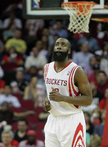 James Harden back peddles down the court after scoring a basket. Photo: James Nielsen, Houston Chronicle / © 2013 Houston Chronicle