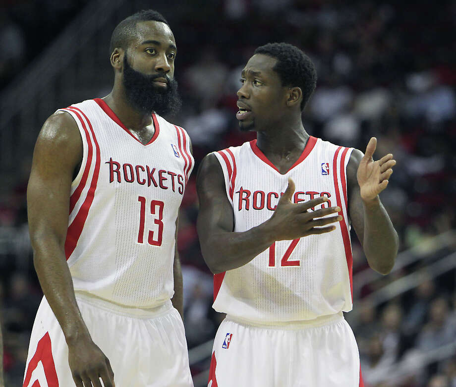 James Harden and Patrick Beverley during the second quarter. Photo: James Nielsen, Houston Chronicle / © 2013 Houston Chronicle