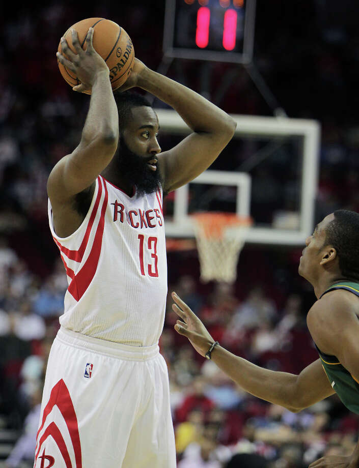 James Harden and Alec Burks during the second quarter. Photo: James Nielsen, Houston Chronicle / © 2013 Houston Chronicle
