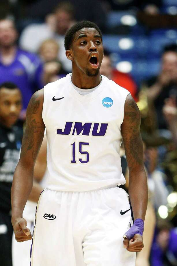 Andre Nation #15 of the James Madison Dukes reacts during the second half. Photo: Gregory Shamus, Getty Images / 2013 Getty Images