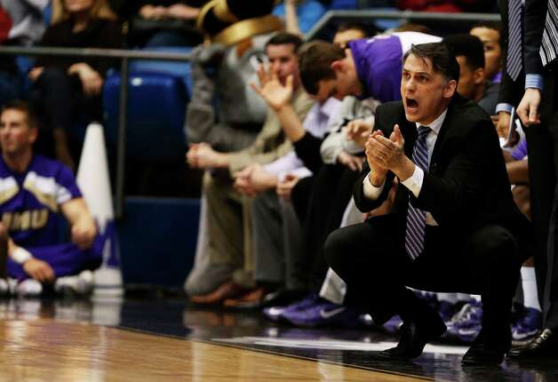 Head coach Matt Brady of the James Madison Dukes reacts in the second half. Photo: Gregory Shamus, Getty Images / 2013 Getty Images