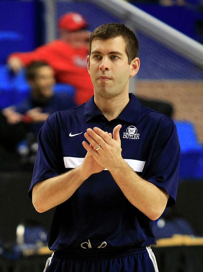 Butler head coach Brad Stevens aplaudes his team during practice for the second round of the NCAA college basketball tournament Wednesday, March 20, 2013, in Lexington, Ky. Butler play Bucknell on Thursday. (AP PhotoJames Crisp) Photo: James Crisp