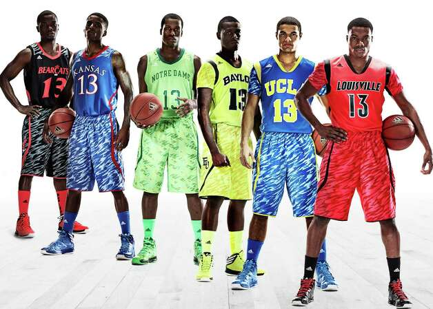 This photo illustration released by Adidas shows the uniforms for NCAA basketball teams, from left, University of Cincinnati, University of Kansas, University of Notre Dame, Baylor University, UCLA and the University of Louisville. (AP Photo/Adidas) Photo: Aaron Hewitt