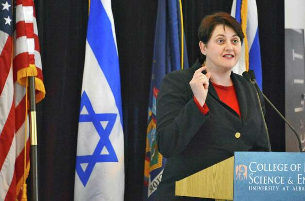 Nili Shalev of Israel's economic mission speaks  during a ceremony at the College of Nanoscale Science and Engineering in Albany to announce a new high-tech international partnership with NYS and CNSE Wednesday March 20, 2013.  (John Carl D'Annibale / Times Union) Photo: John Carl D'Annibale / 00021657A