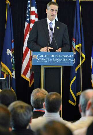 NYS Lt. Gov. Robert J. Duffy speaks  during a ceremony at the College of Nanoscale Science and Engineering in Albany to announce a new high-tech international partnership with NYS and CNSE Wednesday March 20, 2013.  (John Carl D'Annibale / Times Union) Photo: John Carl D'Annibale / 00021657A