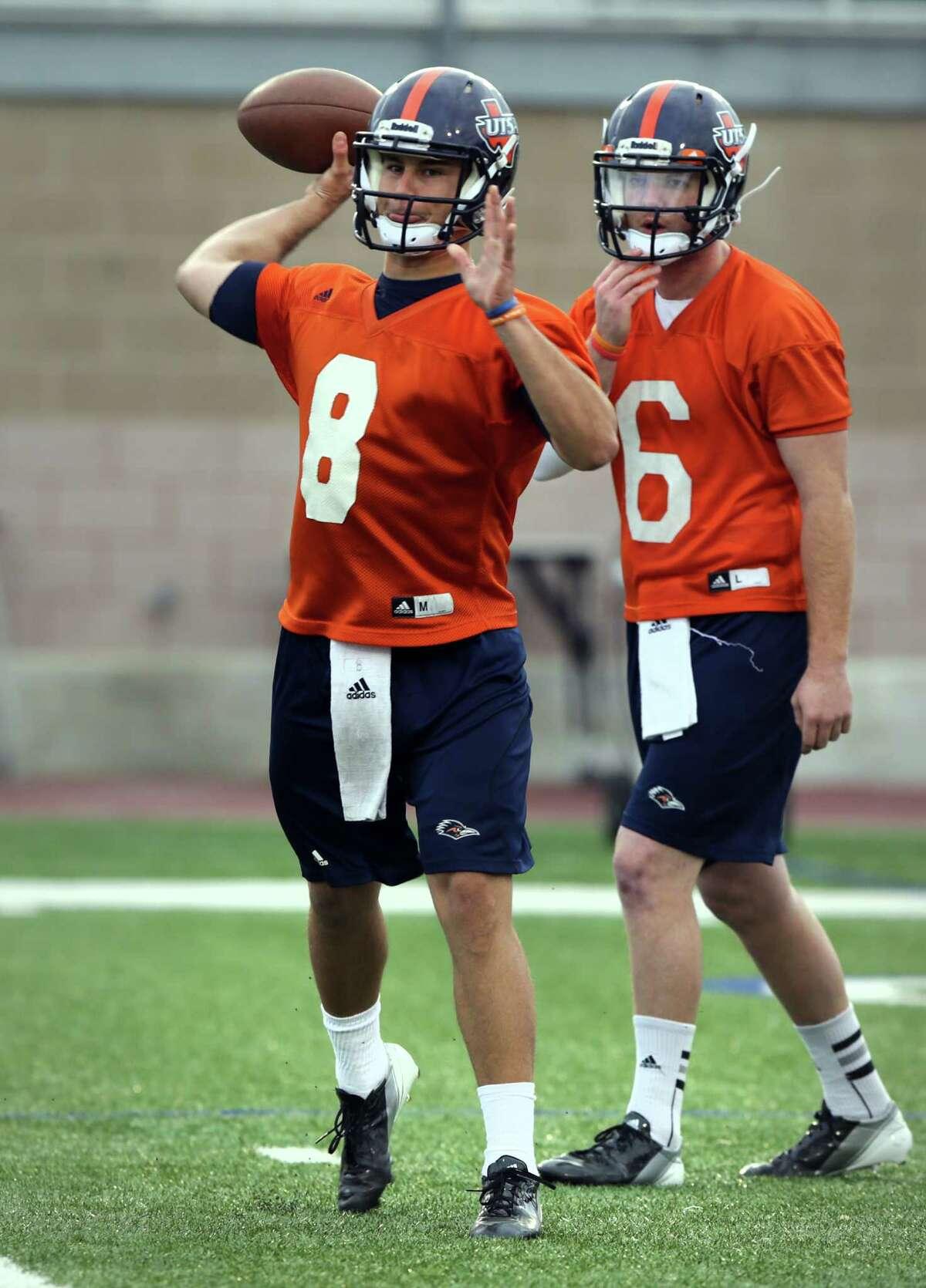 UTSA quarterbacks Eric Soza, left, and Tucker Carter, during a practice on Wednesday, March 20, 2013 at Farris Stadium.