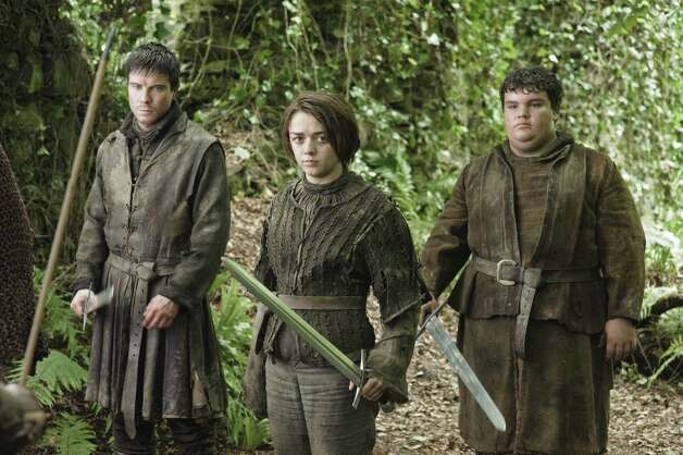"From left, Joe Dempsie as ""Gendry"", Maisie Williams as ""Arya Stark"" and Ben Hawkey as ""Hot Pie"" in the second episode of season 3. Photo: Helen Sloan / Helen Sloan"