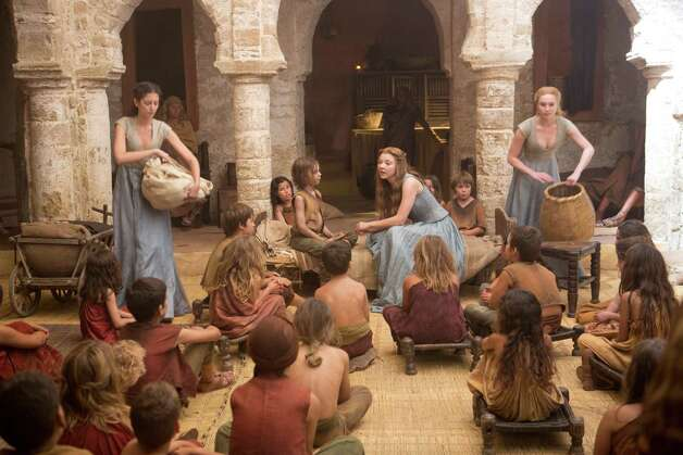 "Natalie Dormer (center) as ""Margaery Tyrell"" in the opening episode of season 3. Photo: Keith Bernstein / Keith Bernstein"