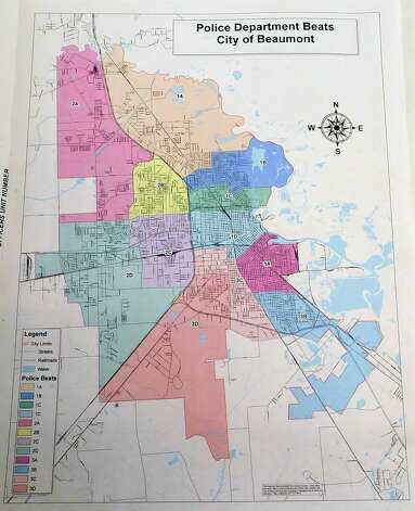 At the 911 Operations Center there is a map showing how the City of Beaumont is divided into three main areas with sub areas to help identify areas of the city to dispatch Police, Fire, and EMS to on a moments notice.  Dave Ryan/The Enterprise Photo: Dave Ryan