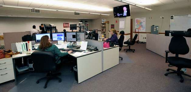 This is a view of the 911 Operations Center at the corner of Orleans and Forsythe, where eight 911 phone lines for the City of Beaumont come in and get answered.   Lynne Wisby is on the right, and Shift Supervisior Cheryl Ridinger, is on the left. Dave Ryan/The Enterprise Photo: Dave Ryan