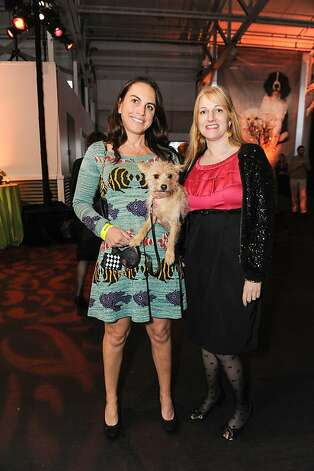Samantha Sevekow and Kim Darin with Bailey at the Bark & Whine Ball 2013. CLAW's 17th annual Bark & Whine Ball took place at Fort Mason Center on March 20, 2013. The benefit supports the San francisco SPCA's Cinderella Fund, which provides critical help for animals most in need.  Photo: Drew Altizer Photography