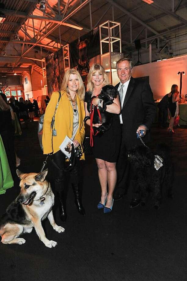 Diane Dwyer, Kristy Savicke and Jeff Bullis at the San Francisco SPCA's Bark & Whine Ball 2013. Photo: Drew Altizer Photography