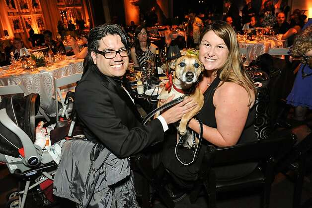 Mike and Jennifer Jimenez Cruz with Max at the San Francisco SPCA's Bark & Whine Ball 2013. Photo: Drew Altizer Photography