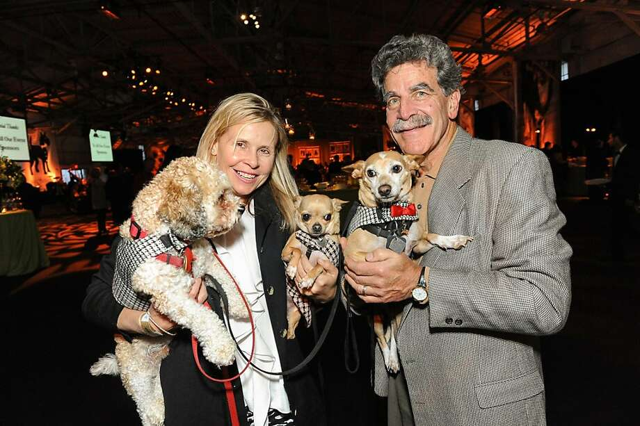 Karen and Robert Kahn with Charles, Lucy and Nikolai at the San Francisco SPCA's Bark & Whine Ball 2013. Photo: Drew Altizer Photography