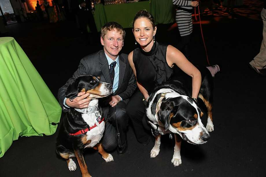 Jason Bedient and Hilary Hedemark with Mogo and Kona at the San Francisco SPCA's Bark & Whine Ball 2013. Photo: Drew Altizer Photography