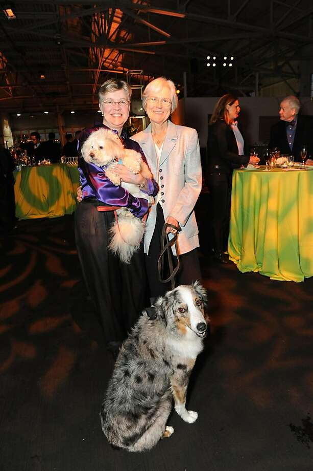 Glenna Dowling and Judy Schultz with Peaches and Romeo at the San Francisco SPCA's Bark & Whine Ball 2013. Photo: Drew Altizer Photography