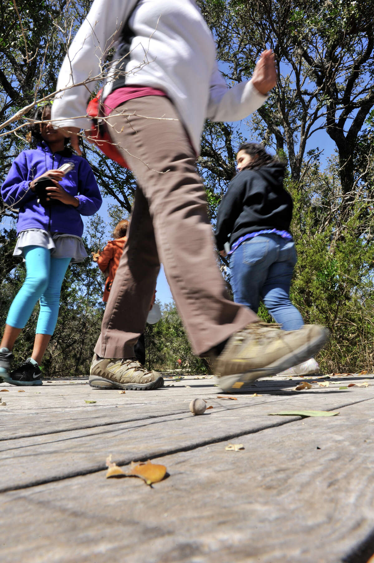 Hikers walk through Government Canyon State Natural Area recently.