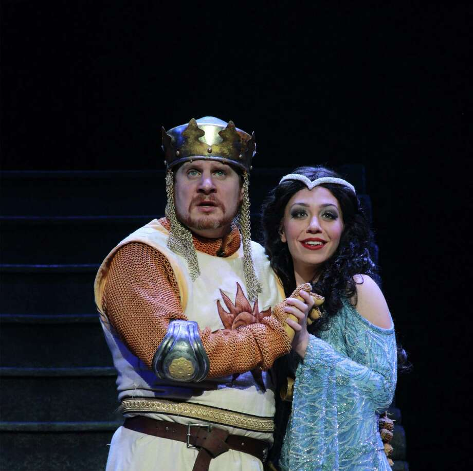 "Arthur Rowen and Abigail Raye co-star in ""Monty Python's Spamalot,"" which will be presented at the Majestic Theatre for two performances on Sunday. Photo: Scott Suchman"