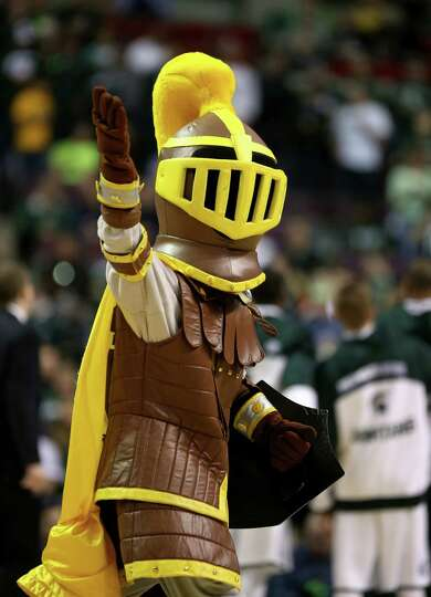 AUBURN HILLS, MI - MARCH 21:  The mascot for the Valparaiso Crusaders performs against the Michigan