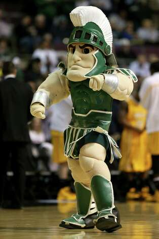 AUBURN HILLS, MI - MARCH 21:  Sparty, the mascot for the Michigan State Spartans performs against the Valparaiso Crusaders during the second round of the 2013 NCAA Men's Basketball Tournament at at The Palace of Auburn Hills on March 21, 2013 in Auburn Hills, Michigan. Photo: Jonathan Daniel, Getty Images / 2013 Getty Images