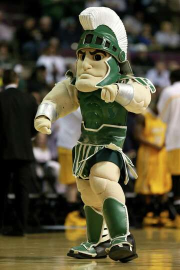 AUBURN HILLS, MI - MARCH 21:  Sparty, the mascot for the Michigan State Spartans performs against th