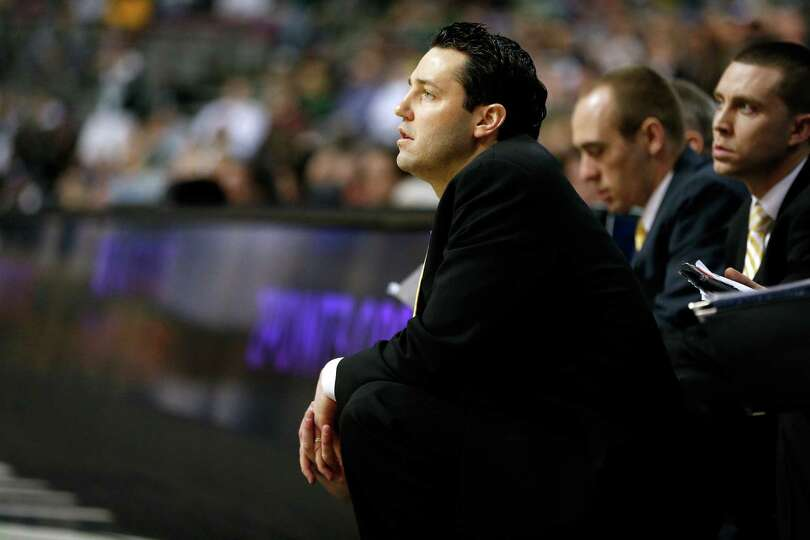 Head coach Bryce Drew of the Valparaiso Crusaders looks on in the first half against the Michigan St