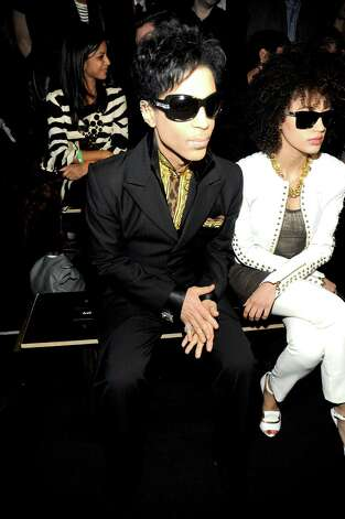 Prince and Andy Allo attend the Versace for H&M Fashion event at the H&M on the Hudson on November 8, 2011 in New York City. Photo: Rabbani And Solimene Photography, Getty Images / 2011 Getty Images
