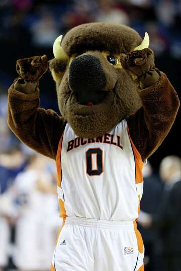 LEXINGTON, KY - MARCH 21:  Bucky the Bison, mascot for the Bucknell Bison, performs against the Butl