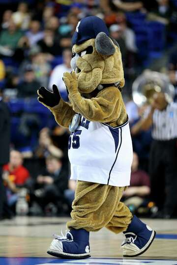LEXINGTON, KY - MARCH 21:  Butler Blue III, mascot for the Butler Bulldogs, performs in the first ha