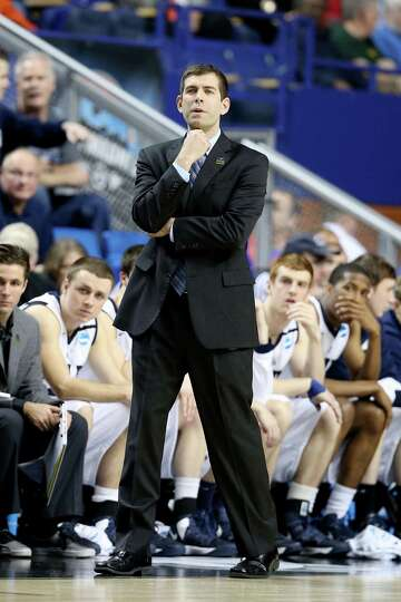 Butler head coach Brad Stevens watches play against the Bucknell Bison in the first half.