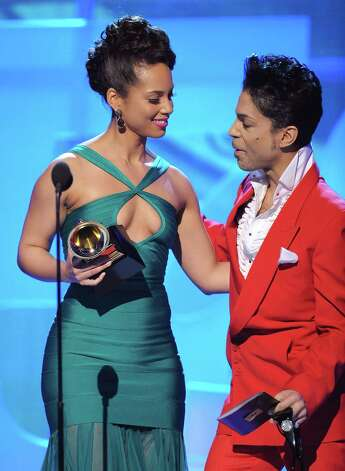 Alicia Keys and Prince on stage at the 50th Annual GRAMMY Awards at the Staples Center on February 10, 2008 in Los Angeles, California.  (Photo by Michael Caulfield/WireImage) Photo: Michael Caulfield, Getty Images / 2008 WireImage