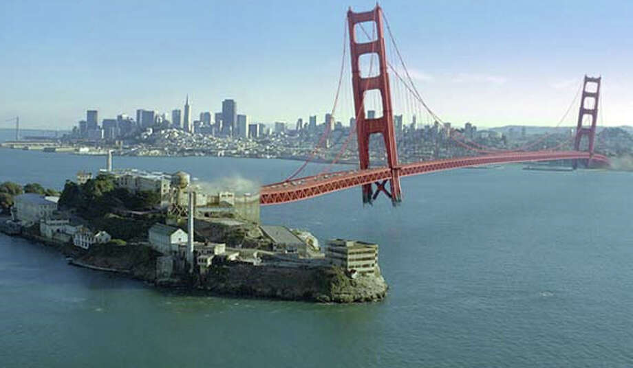 X-MEN: THE LAST STAND (2006) - In a stunning sequence, head baddie Magneto rips the Golden Gate Bridge off its moorings and diverts it to Alcatraz Island, now the super-secure headquarters for a pharmaceutical company developing a 'cure' for the mutant gene.