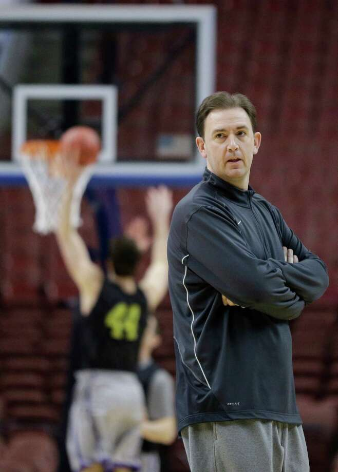 Albany head coach Will Brown watches his team practice for a first-round game of the NCAA college basketball tournament, Thursday, March 21, 2013, in Philadelphia. Albany is scheduled to play Duke on Friday. Photo: Matt Slocum, AP / AP