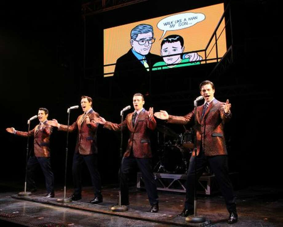 "(l to r) Brad Weinstock, Jason Kappus, Colby Foytik and Brandon Andrus perform ""Walk Like a Man"" in the Jersey Boys, which will be presented in April 2013 at the Hobby Center. Jersey BoysForrest Theatre Photo: Joan Marcus"