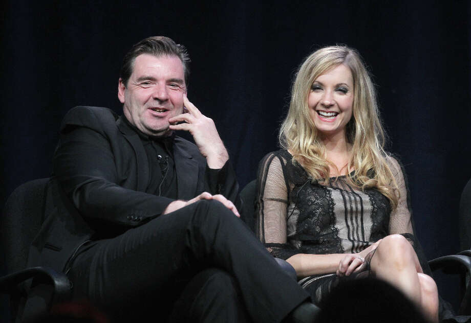 Actors Brendan Coyle (L) and Joann Froggatt speak onstage at the Masterpiece Classic Downton Abbey, Season 3 panel during day 1 of the PBS portion of the 2012 Summer TCA Tour held at the Beverly Hilton Hotel on July 21, 2012 in Beverly Hills, California. Photo: Frederick M. Brown, Getty Images / 2012 Getty Images
