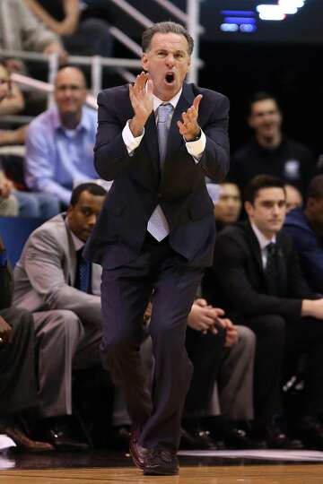 Head coach Jamie Dixon of the Pittsburgh Panthers reacts in the second half against the Wichita Stat